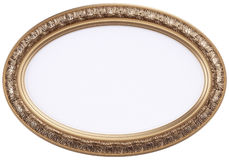 Oval gilded picture frame or mirror isolated on wh Royalty Free Stock Photos