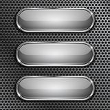 Oval glass buttons with chrome frame on metal perforated background. Vector 3d illustration royalty free illustration