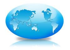 Oval globe. In blue background Stock Photography