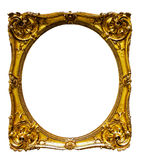 Oval gold picture frame. Isolated over white background, may be used for photo or picture Stock Photography
