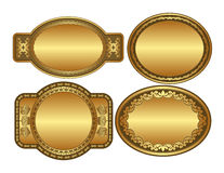 Oval golden backgrounds. Set of golden backgrounds with ornaments and copy space Stock Photo