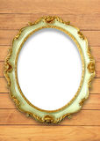 Oval golden color picture frame Royalty Free Stock Images