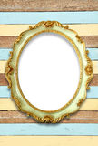 Oval golden color picture frame Stock Photography