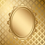 Oval golden vector frame on gold pattern Royalty Free Stock Photos