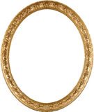 Oval golden picture frame. The real antique frame from art museum. High detail; classic appearance. Rich gold color and elegant ornament Stock Photography