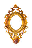Oval golden picture frame isolated on white Stock Photo