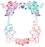 Oval gradient label with outline roses and cute teddy bear holdi Stock Photo