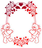 Oval gradient label with outline roses and cute teddy bear holding heart. Stock Images