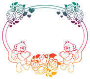 Oval gradient label with outline roses and cute teddy bear holding heart. Stock Photo