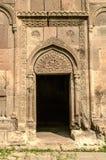 Oval gravyr ovanför ingången i kyrka av Gregory illuminationsenheten i kloster av Goshavank, byn av Gosh nära arkivfoton