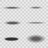 Oval Gray Shadows Set on Transparent Background. Vector Stock Photos
