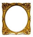 Oval guld- bildram Arkivbild