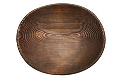 Oval handmade wooden stained plate Royalty Free Stock Photos