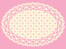 Oval Heart Border with Victorian Eyelet Copy Space. In shades of pink and ecru royalty free illustration