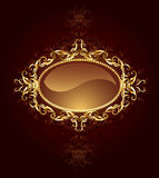 Oval jewelry banner. Oval banner are decorated in jewelry, gold pattern on a dark brown background Stock Photo