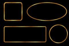 Oval, Kreis, Rechteck und quadratisches goldenes Punkt Feld, für Zertifikat, Plakat gehen XI Fett Cai Moment oder anderes China,  stock abbildung