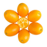 Oval Kumquats Forming A Sun Symbol On White Background Royalty Free Stock Photo
