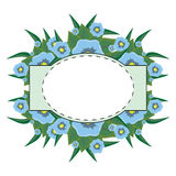 Oval label on a floral background Royalty Free Stock Image
