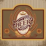 Oval label with ornament inscription for beer vector illustration