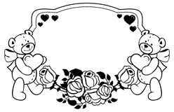 Oval label with outline roses and cute teddy bear holding heart. Raster clip art Royalty Free Stock Photos
