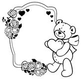 Oval label with outline roses and cute teddy bear holding heart. Raster clip art. Oval label with outline roses and cute teddy bear holding heart. Copy space Stock Images