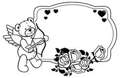 Oval label with outline roses and teddy bear.  Raster clip art. Oval label with outline roses and teddy bear with bow and wings, looks like a Cupid. Copy space Royalty Free Stock Photo