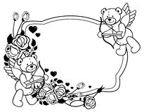 Oval label with outline roses and teddy bear.  Raster clip art. Oval label with outline roses and teddy bear with bow and wings, looks like a Cupid. Copy space Royalty Free Stock Image