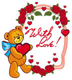Oval label with red roses and cute teddy bear holding a big hear Stock Image