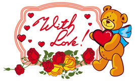 Oval label with red roses and cute teddy bear holding a big hear Stock Photo