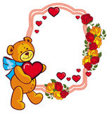 Oval label with red roses and cute teddy bear holding a big hear Stock Photography