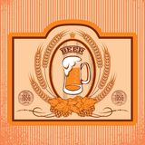 Oval labels for beer. Oval label with a glass of beer Stock Images