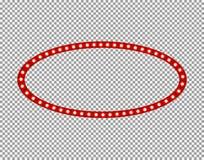 Oval ljus ram för vektor som isoleras på genomskinlig bakgrund, lampor, tom gräns stock illustrationer