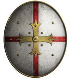 Oval medieval shield with golden cross 3d illustration Stock Photography