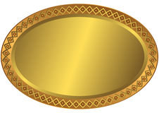 Oval Metal Golnen Plate Stock Photography