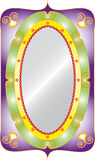 Oval mirror. Decorative oval with mirror isolated classic frame with filigree Stock Photos