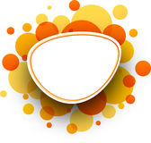 Oval orange background. Paper white oval background with orange bubbles. Vector illustration Royalty Free Stock Image