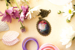 Oval pendant with a picture Royalty Free Stock Photo