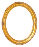 Oval photo bronze wooden frame isolated on white background. Clipping path Royalty Free Stock Photo