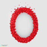 Oval photo frame made of many hearts Royalty Free Stock Images