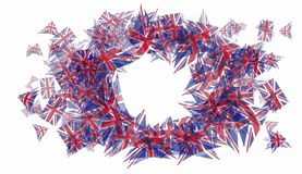 Oval photo frame with triangular Great Britain flags. Pattern isolated on white background, eps10 vector illustration royalty free illustration
