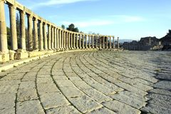 Oval piazza in Jerash. Jordan. A view of the oval square in Jerash. Jordan Stock Photography