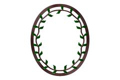 Oval picture frame. Wooden oval picture frame on paper with space for photography royalty free illustration