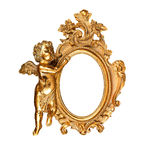 Oval picture frame. Golden vintage oval picture frame with angel Royalty Free Stock Image