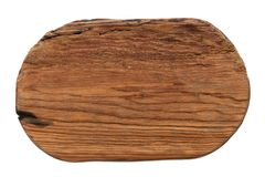 Oval piece of old wood with a natural texture, pattern. Isolated. On white background royalty free stock image