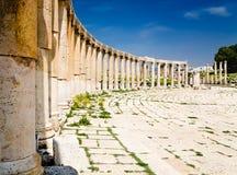 Oval Plaza columns in Jerash, Jordan Stock Image