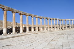 Oval Plaza or Forum. In Jerash Royalty Free Stock Photography