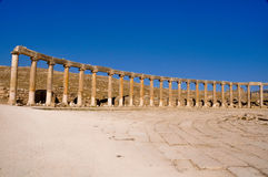 Oval Plaza at Jerash ruins, Jordan Royalty Free Stock Photo