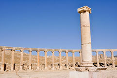 Oval Plaza at Jerash ruins (Jordan) Royalty Free Stock Photography