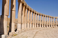 Oval Plaza at Jerash ruins (Jordan) Royalty Free Stock Images