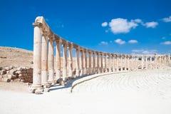 Oval Plaza-Ruins of Jerash, Jordan Stock Image